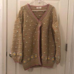 Handmade knit sweater cardigan